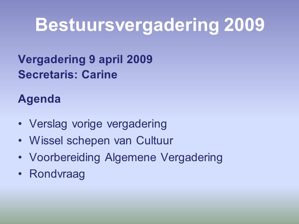 Bestuursvergadering 2009 Vergadering 9 april 2009 Secretaris: Carine Agenda Verslag vorige vergadering Wissel schepen van Cultuur Voorbereiding Algemene Vergadering Rondvraag