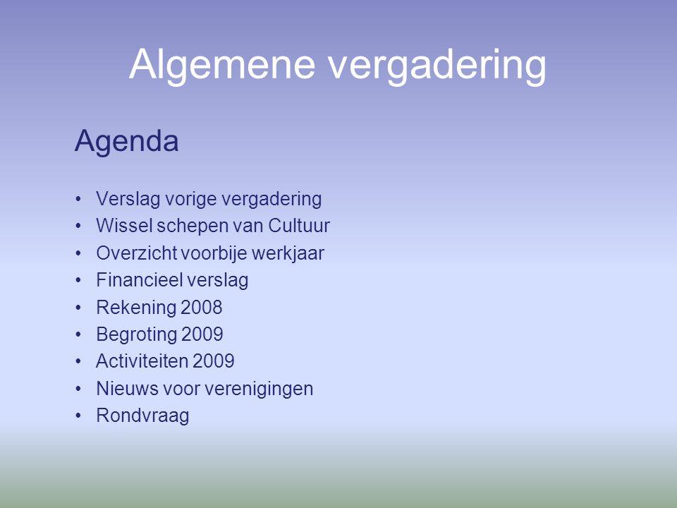 Algemene vergadering Agenda Verslag vorige vergadering Wissel schepen van Cultuur Overzicht voorbije werkjaar Financieel verslag Rekening 2008 Begroting 2009 Activiteiten 2009 Nieuws voor verenigingen Rondvraag