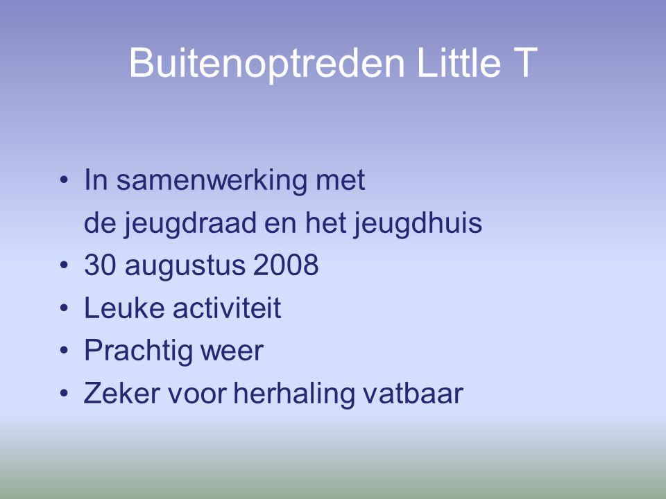 Buitenoptreden Little T In samenwerking met de jeugdraad en het jeugdhuis 30 augustus 2008 Leuke activiteit Prachtig weer Zeker voor herhaling vatbaar