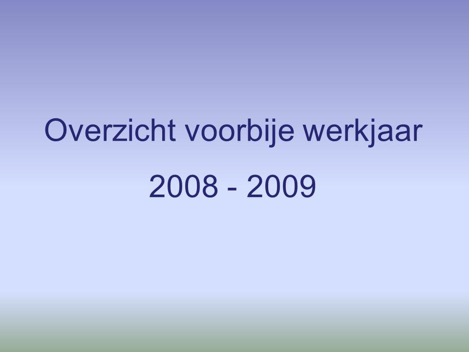 Overzicht voorbije werkjaar 2008 - 2009