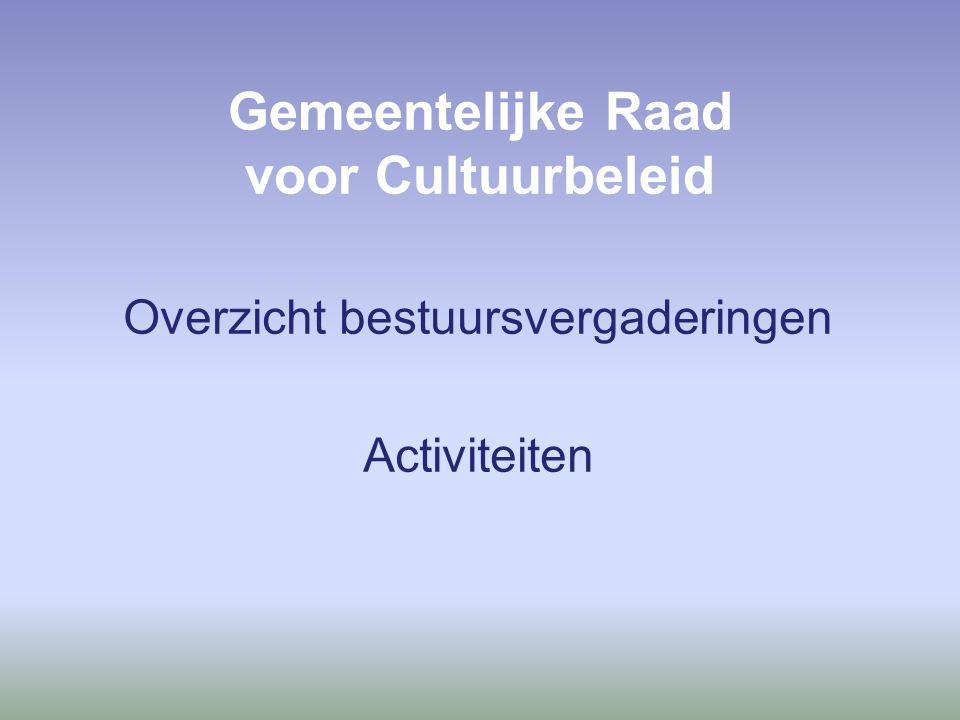 Gemeentelijke Raad voor Cultuurbeleid Overzicht bestuursvergaderingen Activiteiten