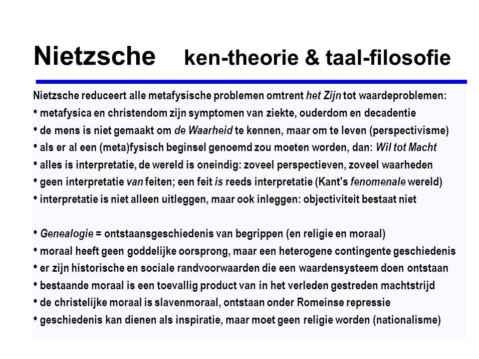 Nietzsche ken-theorie & taal-filosofie Nietzsche reduceert alle metafysische problemen omtrent het Zijn tot waardeproblemen: metafysica en christendom