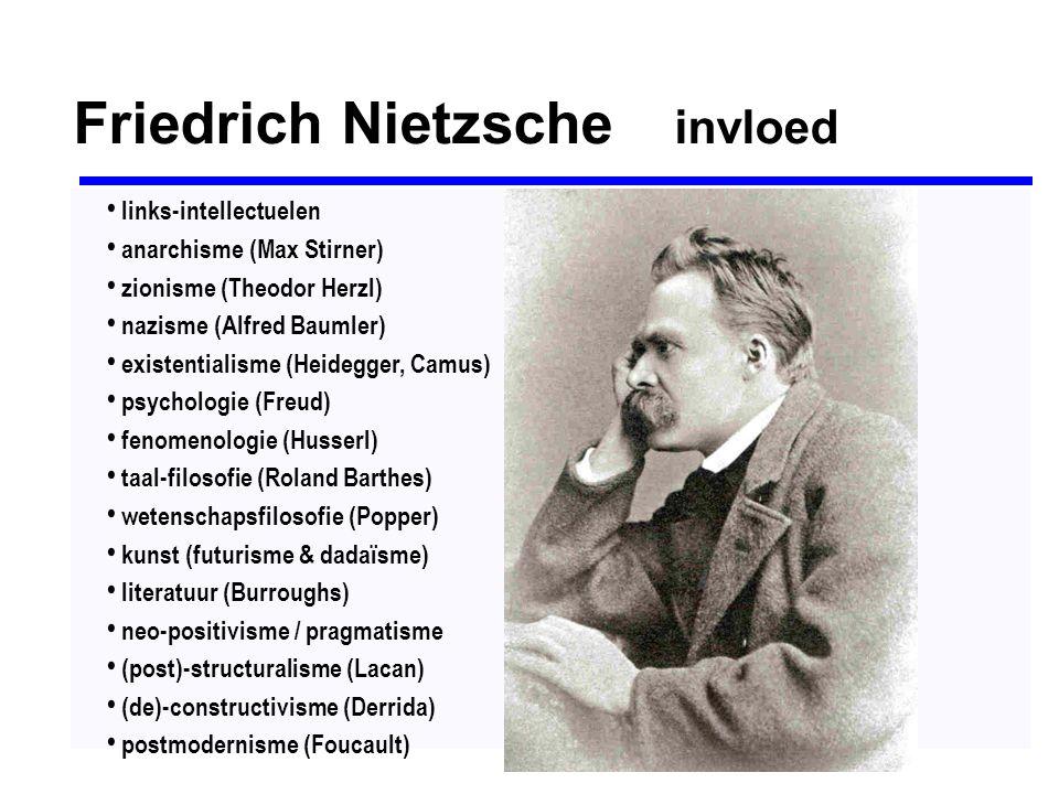 Friedrich Nietzsche invloed links-intellectuelen anarchisme (Max Stirner) zionisme (Theodor Herzl) nazisme (Alfred Baumler) existentialisme (Heidegger