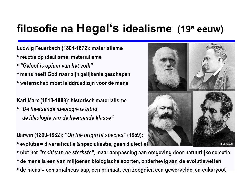 Arthur Schopenhauer (1788-1860) De wereld als Wil en Voorstelling (1819) hekelt Hegel's Absolute Geest & teleologie de drang om te bestaan is in alles werkzaam de Wil is blind: streeft zonder enige reden of doel de Wil is niet alleen blind & dom, maar ook onvrij de Wil = determinisme, causaliteit & streven mens lijkt gestuurd door motieven, maar is schijn: het denken onttrekt zich niet aan de blinde Wil de Wil is de bron van oneindig lijden in de wereld uitweg veronderstelt hogere ethiek: medelijden, wereldverzaking & negatie van de Wil tot leven vgl.