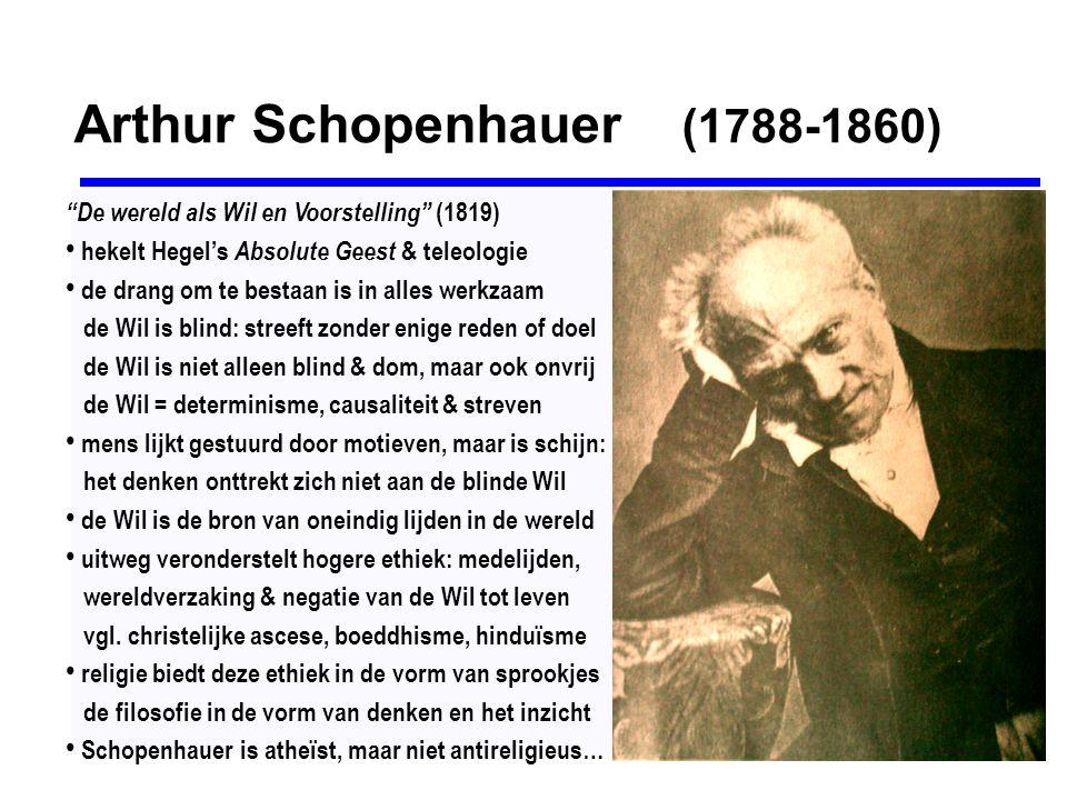 """Arthur Schopenhauer (1788-1860) """"De wereld als Wil en Voorstelling"""" (1819) hekelt Hegel's Absolute Geest & teleologie de drang om te bestaan is in all"""