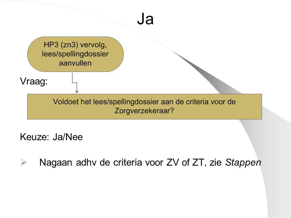 Ja Vraag: Keuze: Ja/Nee  Nagaan adhv de criteria voor ZV of ZT, zie Stappen