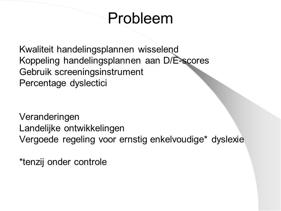 Probleem Kwaliteit handelingsplannen wisselend Koppeling handelingsplannen aan D/E-scores Gebruik screeningsinstrument Percentage dyslectici Veranderi
