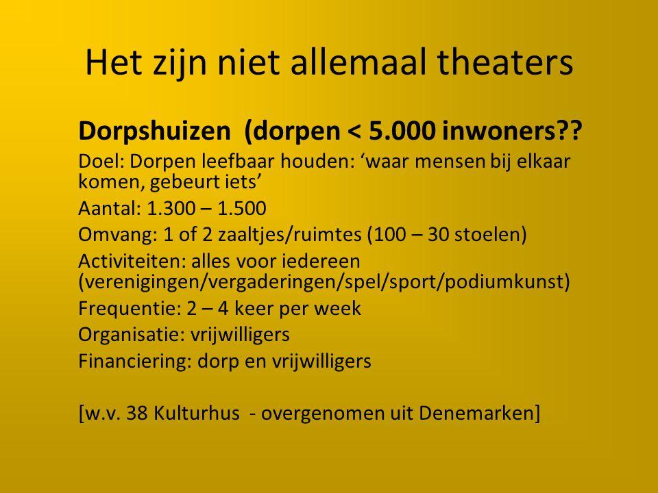 Het zijn niet allemaal theaters Dorpshuizen (dorpen < 5.000 inwoners .