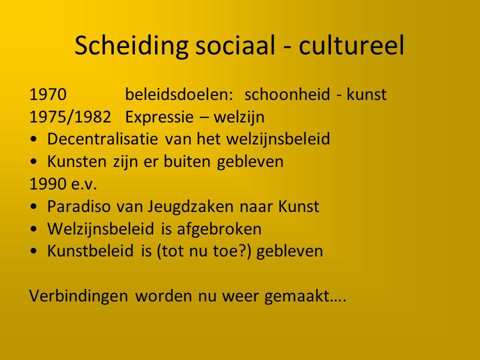 Scheiding sociaal - cultureel 1970beleidsdoelen: schoonheid - kunst 1975/1982Expressie – welzijn Decentralisatie van het welzijnsbeleid Kunsten zijn er buiten gebleven 1990 e.v.