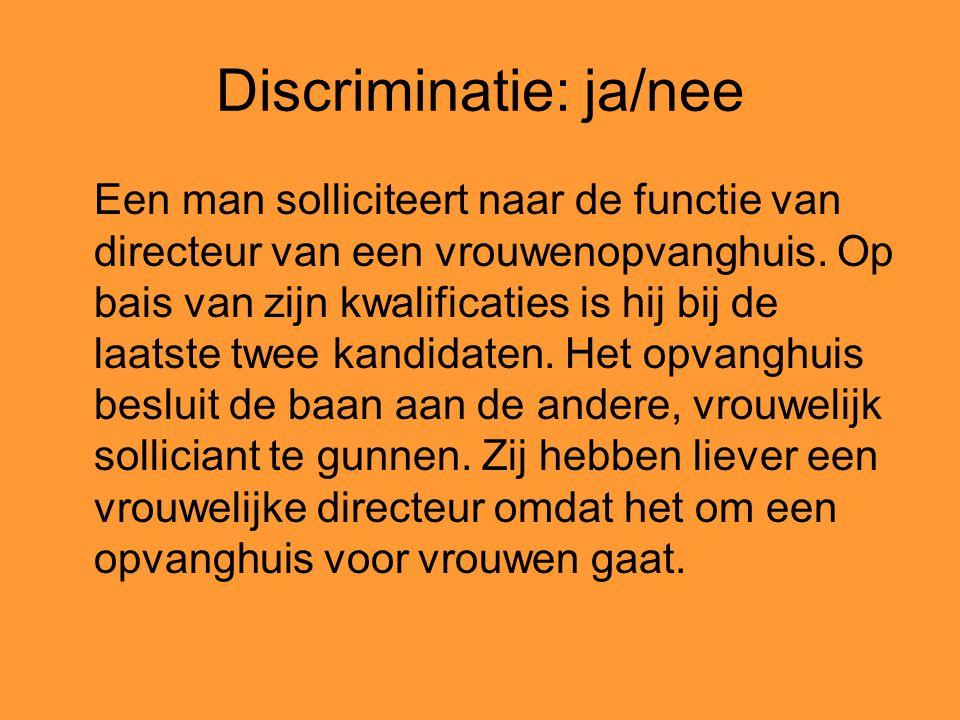 Discriminatie: ja/nee Een man solliciteert naar de functie van directeur van een vrouwenopvanghuis. Op bais van zijn kwalificaties is hij bij de laats