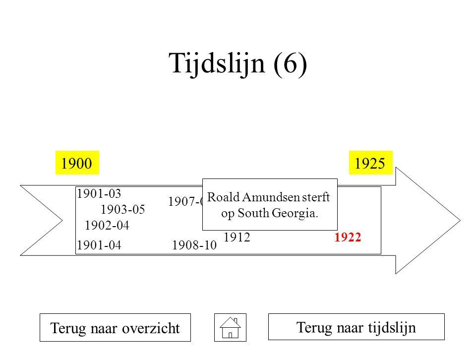 Tijdslijn (6) 19001925 1901-03 1901-04 1902-04 1903-05 1907-09 1908-10 1911 1912 1914-16 1922 Terug naar overzicht Terug naar tijdslijn Roald Amundsen sterft op South Georgia.