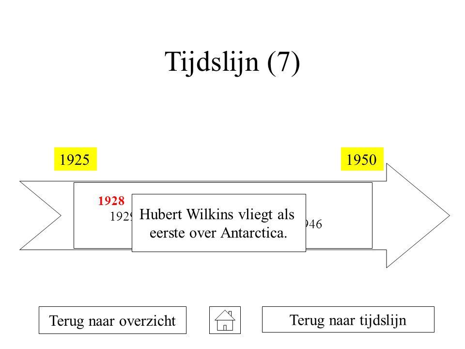 Tijdslijn (7) 19251950 1928 1929 1934 1935 1946 Terug naar overzicht Terug naar tijdslijn Hubert Wilkins vliegt als eerste over Antarctica.
