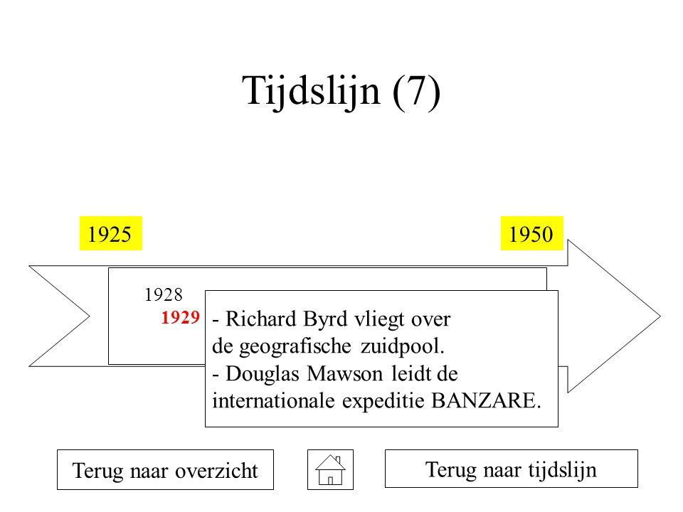 Tijdslijn (7) 19251950 1928 1929 1934 1935 1946 Terug naar overzicht Terug naar tijdslijn - Richard Byrd vliegt over de geografische zuidpool.