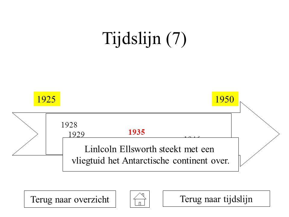 Tijdslijn (7) 19251950 1928 1929 1934 1935 1946 Terug naar overzicht Terug naar tijdslijn Linlcoln Ellsworth steekt met een vliegtuid het Antarctische continent over.