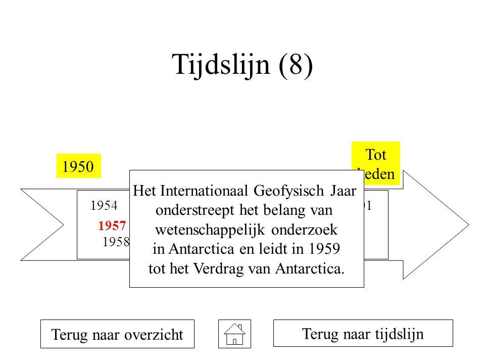 Tijdslijn (8) 1950 Tot heden 1954 1957 1958 1981 1990 1992 1993 1996 1998 2001 Terug naar overzicht Terug naar tijdslijn Het Internationaal Geofysisch Jaar onderstreept het belang van wetenschappelijk onderzoek in Antarctica en leidt in 1959 tot het Verdrag van Antarctica.