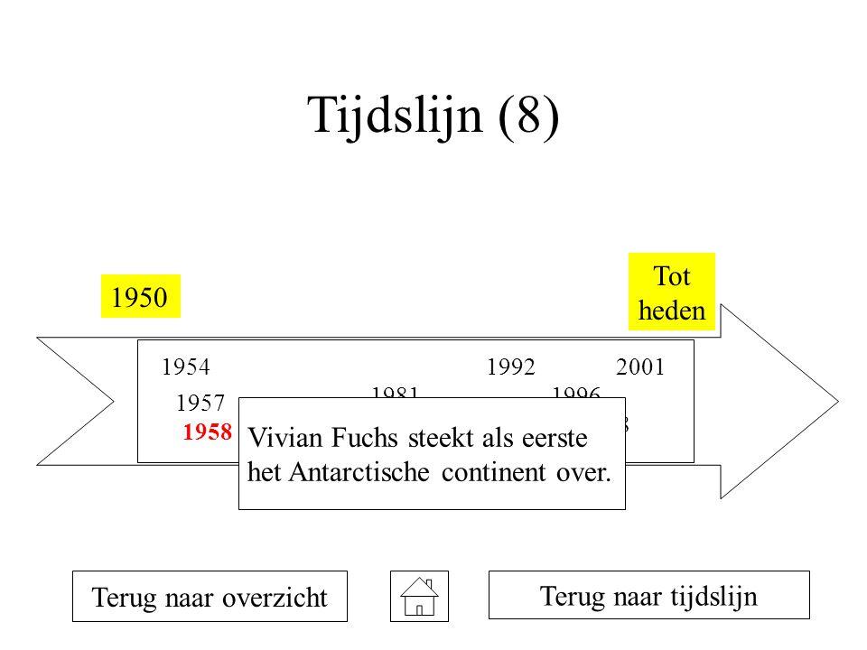 Tijdslijn (8) 1950 Tot heden 1954 1957 1958 1981 1990 1992 1993 1996 1998 2001 Terug naar overzicht Terug naar tijdslijn Vivian Fuchs steekt als eerste het Antarctische continent over.