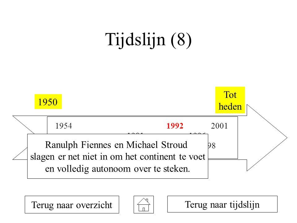 Tijdslijn (8) 1950 Tot heden 1954 1957 1958 1981 1990 1992 1993 1996 1998 2001 Terug naar overzicht Terug naar tijdslijn Ranulph Fiennes en Michael Stroud slagen er net niet in om het continent te voet en volledig autonoom over te steken.