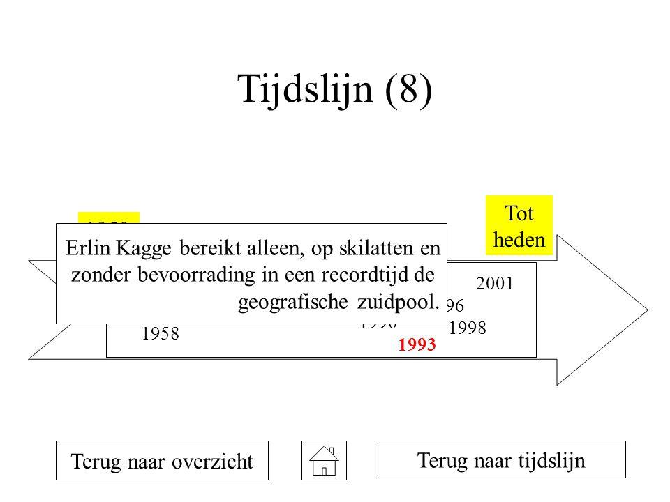 Tijdslijn (8) 1950 Tot heden 1954 1957 1958 1981 1990 1992 1993 1996 1998 2001 Terug naar overzicht Terug naar tijdslijn Erlin Kagge bereikt alleen, op skilatten en zonder bevoorrading in een recordtijd de geografische zuidpool.
