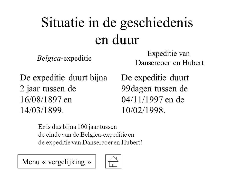 Situatie in de geschiedenis en duur De expeditie duurt bijna 2 jaar tussen de 16/08/1897 en 14/03/1899. De expeditie duurt 99dagen tussen de 04/11/199