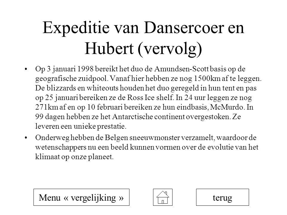 Expeditie van Dansercoer en Hubert (vervolg) Op 3 januari 1998 bereikt het duo de Amundsen-Scott basis op de geografische zuidpool. Vanaf hier hebben