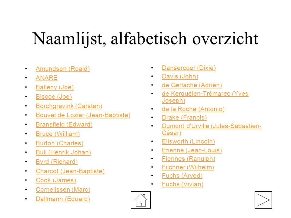 Naamlijst, alfabetisch overzicht Amundsen (Roald) ANARE Balleny (Joe) Biscoe (Joe) Borchgrevink (Carsten) Bouvet de Lozier (Jean-Baptiste) Bransfield