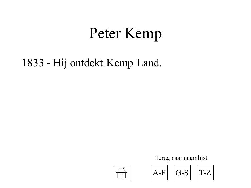 Peter Kemp 1833 - Hij ontdekt Kemp Land. A-FT-ZG-S Terug naar naamlijst