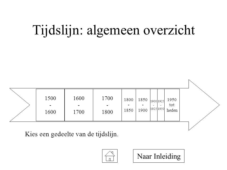 Tijdslijn: algemeen overzicht Kies een gedeelte van de tijdslijn. 1500 - 1600 1700 - 1800 1600 - 1700 1800 - 1850 1950 tot heden 1850 - 1900 - 1925 -