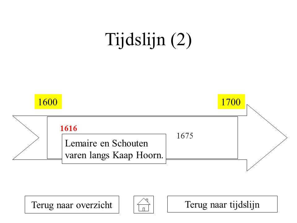 Tijdslijn (2) 16001700 1616 1642 1675 Terug naar overzicht Lemaire en Schouten varen langs Kaap Hoorn. Terug naar tijdslijn