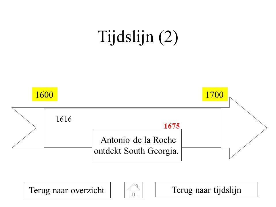 Tijdslijn (2) 16001700 1616 1642 1675 Terug naar overzicht Antonio de la Roche ontdekt South Georgia. Terug naar tijdslijn