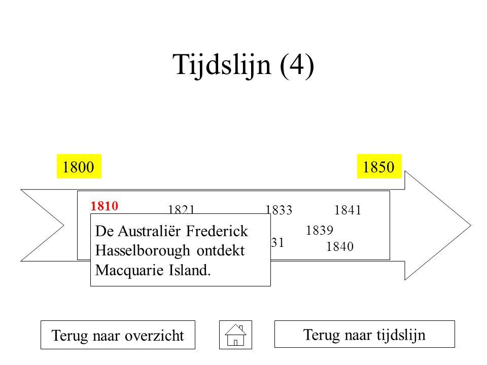 Tijdslijn (4) 18001850 1810 1819 1820 1821 1823 1831 1833 1839 1840 1841 Terug naar overzicht Terug naar tijdslijn De Australiër Frederick Hasselborough ontdekt Macquarie Island.