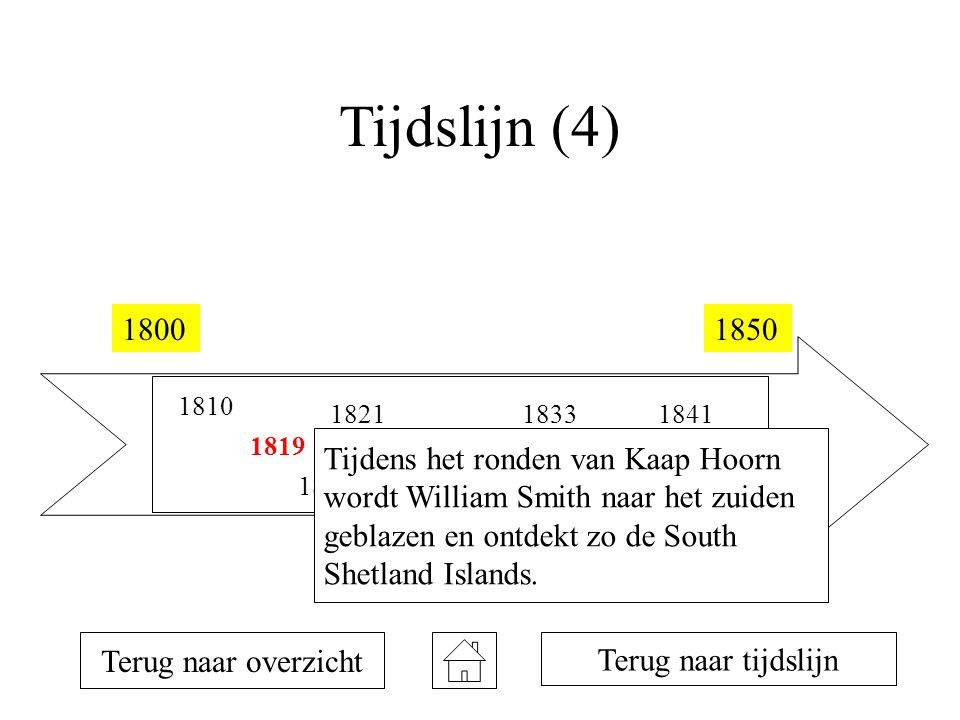 Tijdslijn (4) 18001850 1810 1819 1820 1821 1823 1831 1833 1839 1840 1841 Terug naar overzicht Terug naar tijdslijn Tijdens het ronden van Kaap Hoorn w