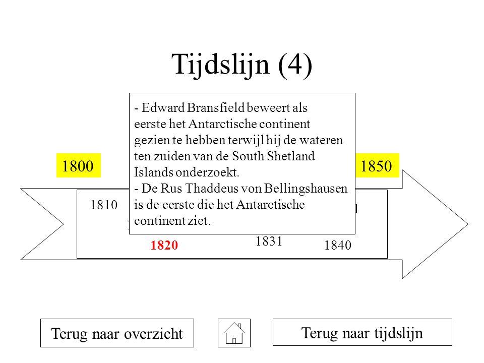 Tijdslijn (4) 18001850 1810 1819 1820 1821 1823 1831 1833 1839 1840 1841 Terug naar overzicht Terug naar tijdslijn - Edward Bransfield beweert als eerste het Antarctische continent gezien te hebben terwijl hij de wateren ten zuiden van de South Shetland Islands onderzoekt.