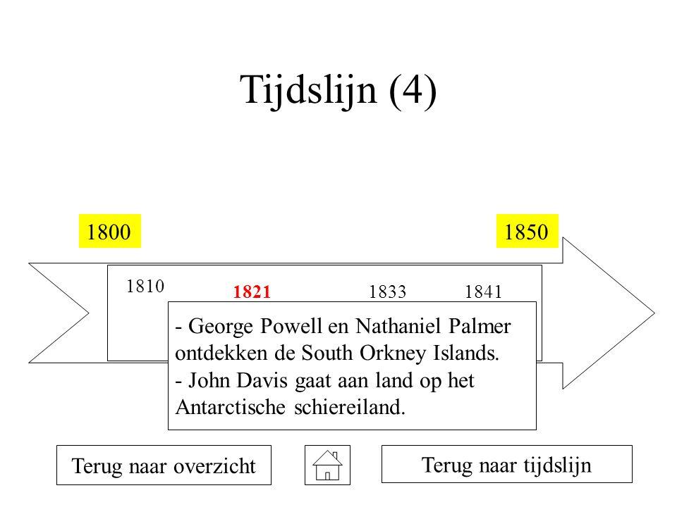 Tijdslijn (4) 18001850 1810 1819 1820 1821 1823 1831 1833 1839 1840 1841 Terug naar overzicht Terug naar tijdslijn - George Powell en Nathaniel Palmer ontdekken de South Orkney Islands.