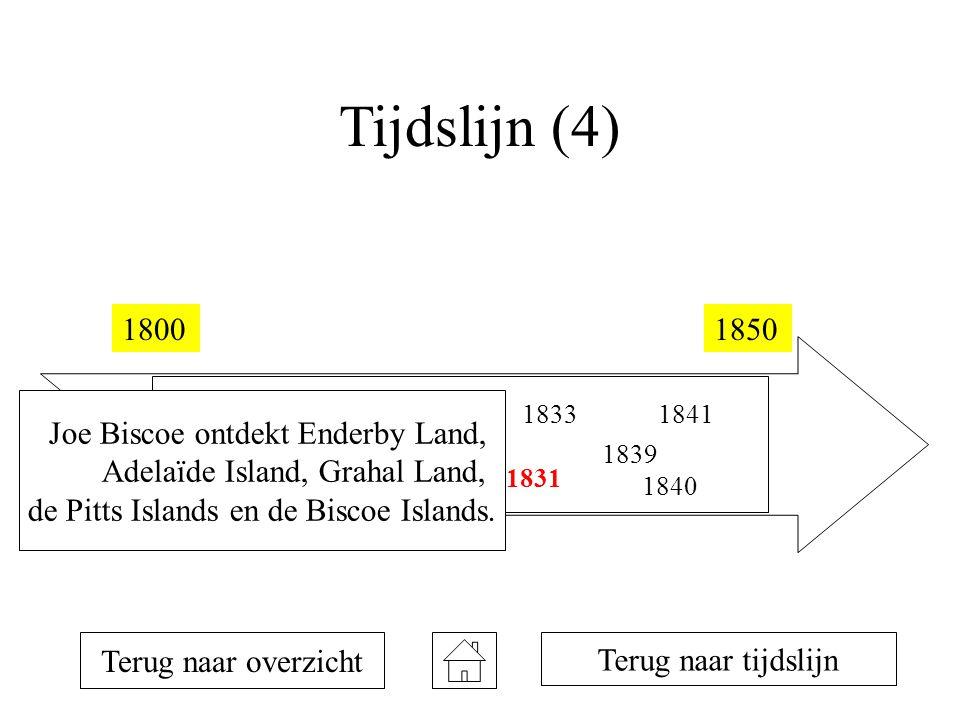 Tijdslijn (4) 18001850 1810 1819 1820 1821 1823 1831 1833 1839 1840 1841 Terug naar overzicht Terug naar tijdslijn Joe Biscoe ontdekt Enderby Land, Adelaïde Island, Grahal Land, de Pitts Islands en de Biscoe Islands.