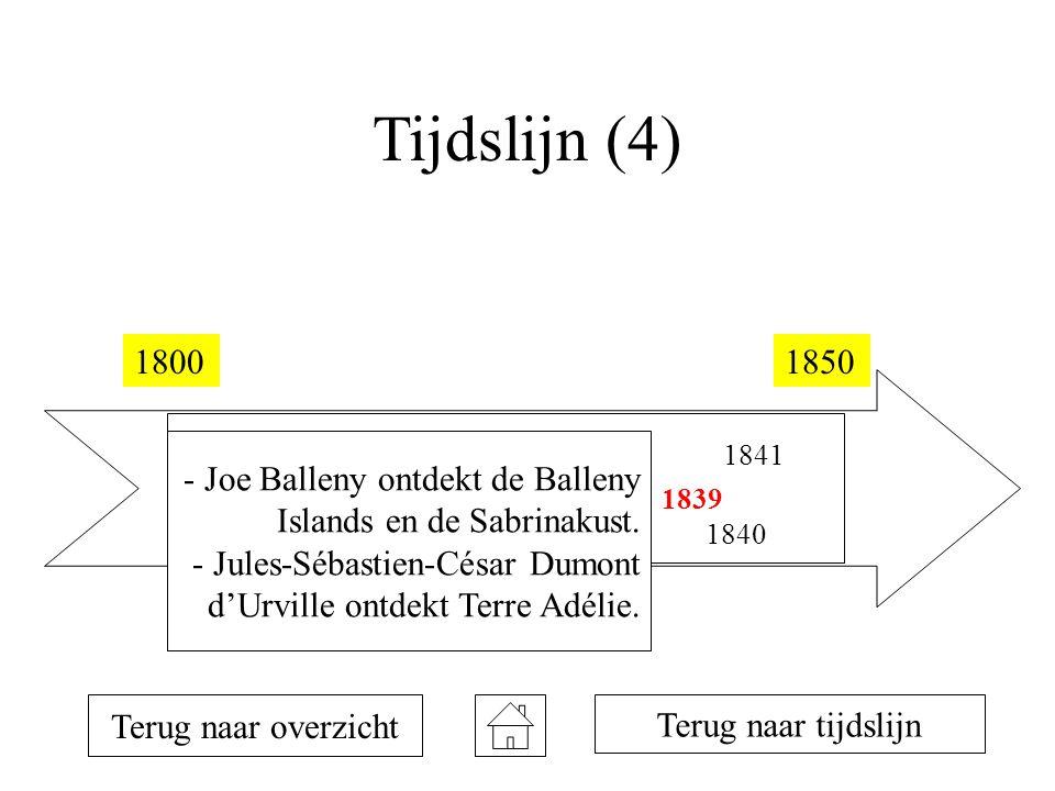 Tijdslijn (4) 18001850 1810 1819 1820 1821 1823 1831 1833 1839 1840 1841 Terug naar overzicht Terug naar tijdslijn - Joe Balleny ontdekt de Balleny Islands en de Sabrinakust.