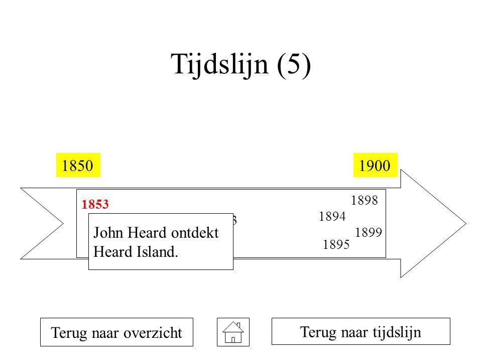 Tijdslijn (5) 18501900 1853 1854 1873 1894 1895 1898 1899 Terug naar overzicht John Heard ontdekt Heard Island.