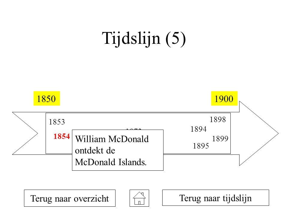 Tijdslijn (5) 18501900 1853 1854 1873 1894 1895 1898 1899 Terug naar overzicht William McDonald ontdekt de McDonald Islands. Terug naar tijdslijn