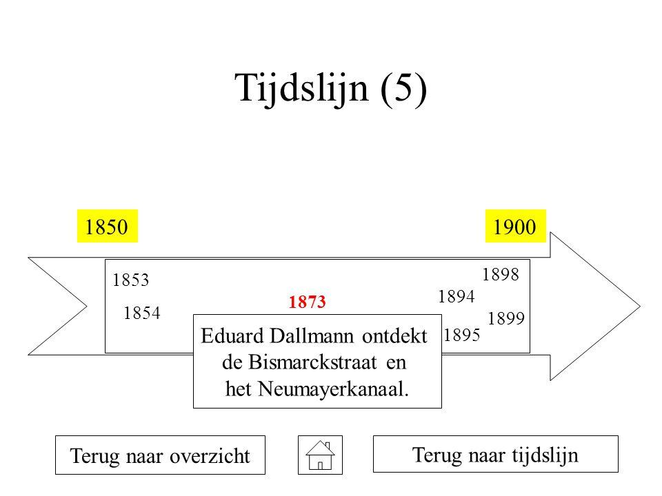 Tijdslijn (5) 18501900 1853 1854 1873 1894 1895 1898 1899 Terug naar overzicht Eduard Dallmann ontdekt de Bismarckstraat en het Neumayerkanaal. Terug