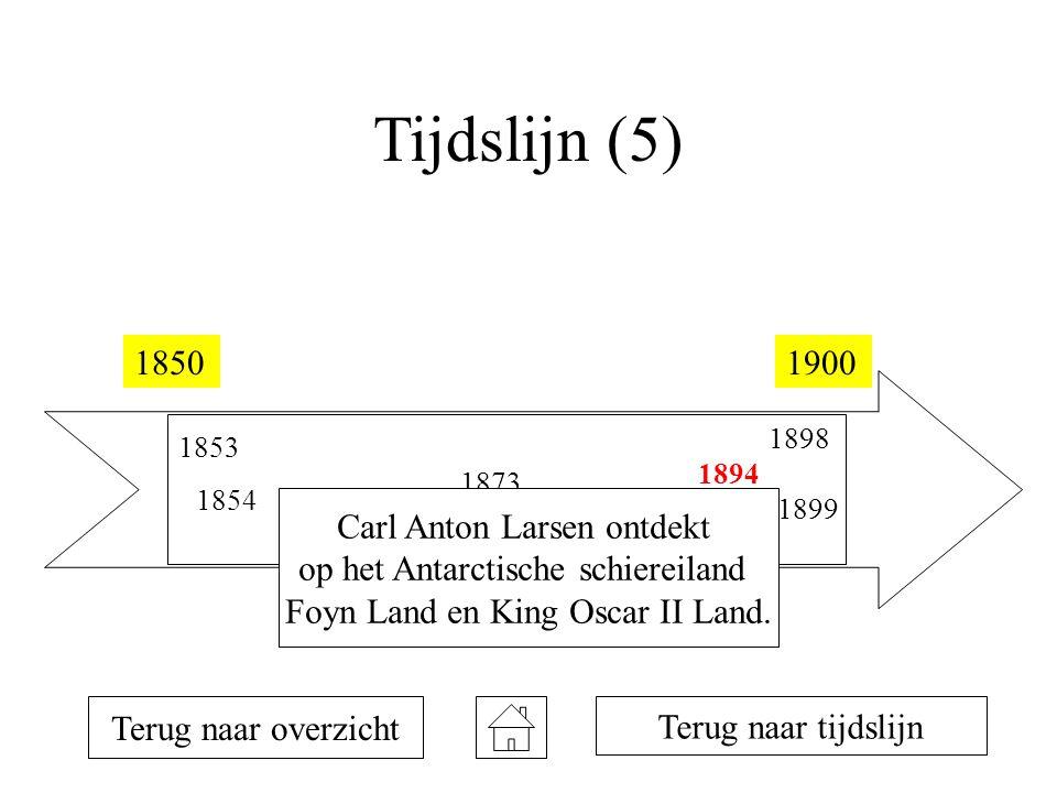 Tijdslijn (5) 18501900 1853 1854 1873 1894 1895 1898 1899 Terug naar overzicht Carl Anton Larsen ontdekt op het Antarctische schiereiland Foyn Land en King Oscar II Land.