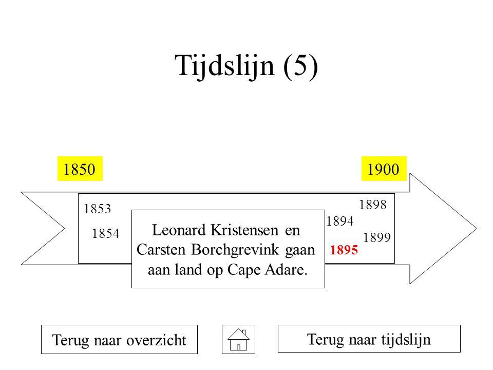 Tijdslijn (5) 18501900 1853 1854 1873 1894 1895 1898 1899 Terug naar overzicht Leonard Kristensen en Carsten Borchgrevink gaan aan land op Cape Adare.