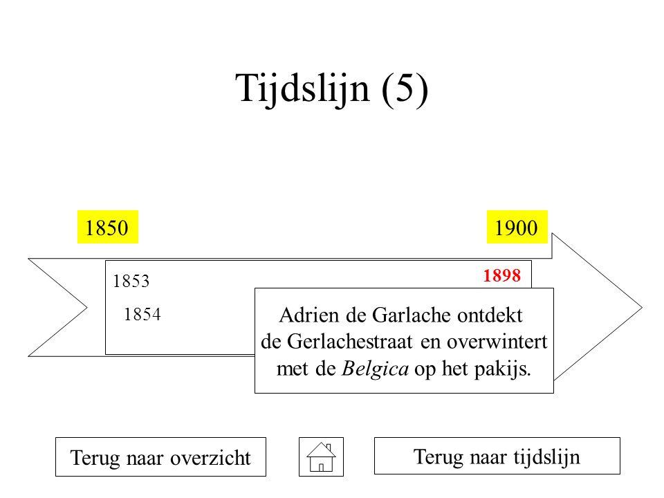 Tijdslijn (5) 18501900 1853 1854 1873 1894 1895 1898 1899 Terug naar overzicht Adrien de Garlache ontdekt de Gerlachestraat en overwintert met de Belgica op het pakijs.