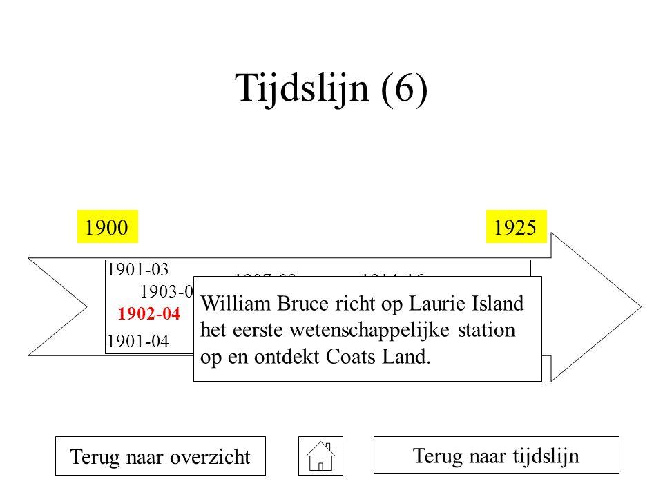 Tijdslijn (6) 19001925 1901-03 1901-04 1902-04 1903-05 1907-09 1908-10 1911 1912 1914-16 1922 Terug naar overzicht Terug naar tijdslijn William Bruce richt op Laurie Island het eerste wetenschappelijke station op en ontdekt Coats Land.