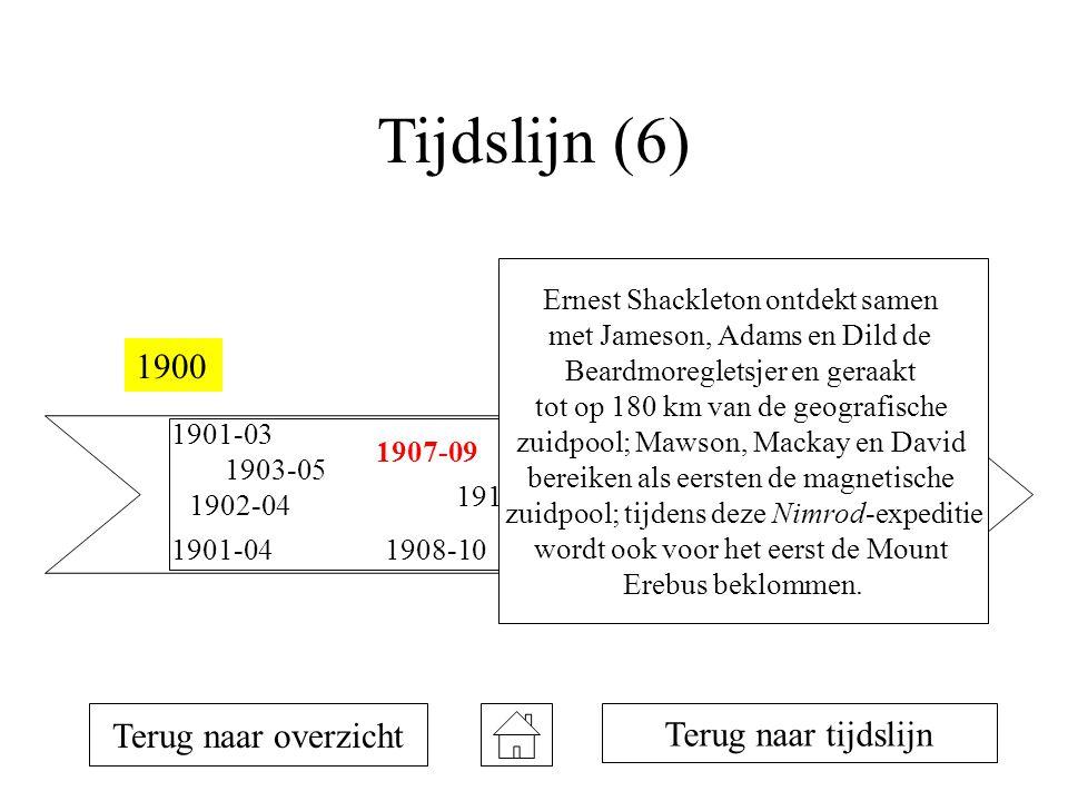 Tijdslijn (6) 19001925 1901-03 1901-04 1902-04 1903-05 1907-09 1908-10 1911 1912 1914-16 1922 Terug naar overzicht Terug naar tijdslijn Ernest Shackleton ontdekt samen met Jameson, Adams en Dild de Beardmoregletsjer en geraakt tot op 180 km van de geografische zuidpool; Mawson, Mackay en David bereiken als eersten de magnetische zuidpool; tijdens deze Nimrod-expeditie wordt ook voor het eerst de Mount Erebus beklommen.