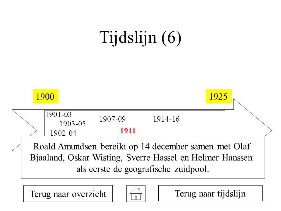 Tijdslijn (6) 19001925 1901-03 1901-04 1902-04 1903-05 1907-09 1908-10 1911 1912 1914-16 1922 Terug naar overzicht Terug naar tijdslijn Roald Amundsen bereikt op 14 december samen met Olaf Bjaaland, Oskar Wisting, Sverre Hassel en Helmer Hanssen als eerste de geografische zuidpool.