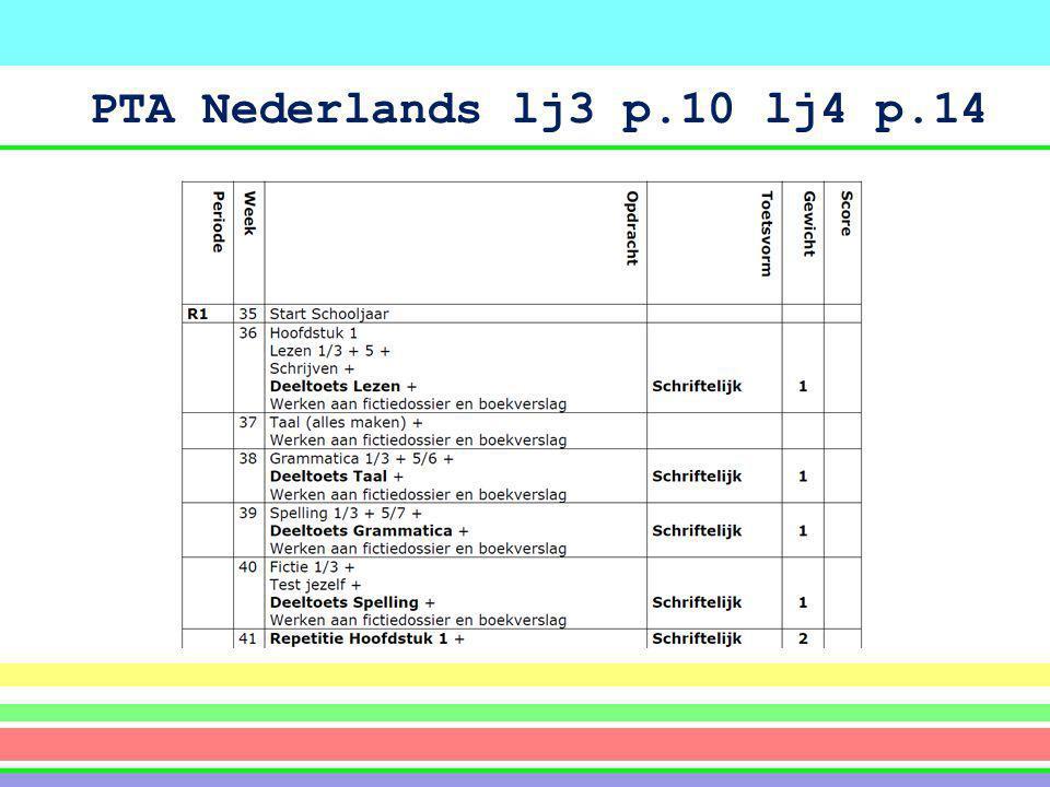 PTA Nederlands lj3 p.10 lj4 p.14