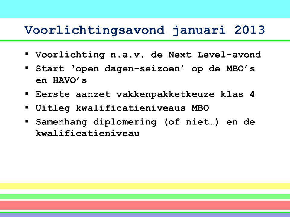 Voorlichtingsavond januari 2013  Voorlichting n.a.v. de Next Level-avond  Start 'open dagen-seizoen' op de MBO's en HAVO's  Eerste aanzet vakkenpak