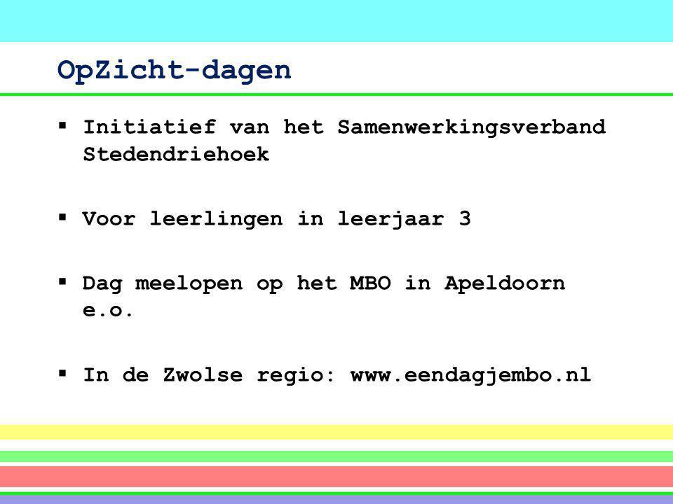 OpZicht-dagen  Initiatief van het Samenwerkingsverband Stedendriehoek  Voor leerlingen in leerjaar 3  Dag meelopen op het MBO in Apeldoorn e.o.  I