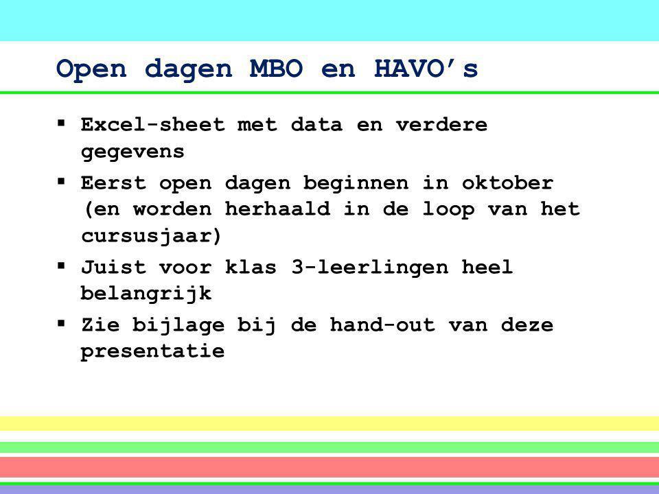 Open dagen MBO en HAVO's  Excel-sheet met data en verdere gegevens  Eerst open dagen beginnen in oktober (en worden herhaald in de loop van het curs