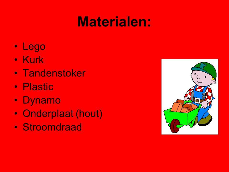 Materialen: Lego Kurk Tandenstoker Plastic Dynamo Onderplaat (hout) Stroomdraad