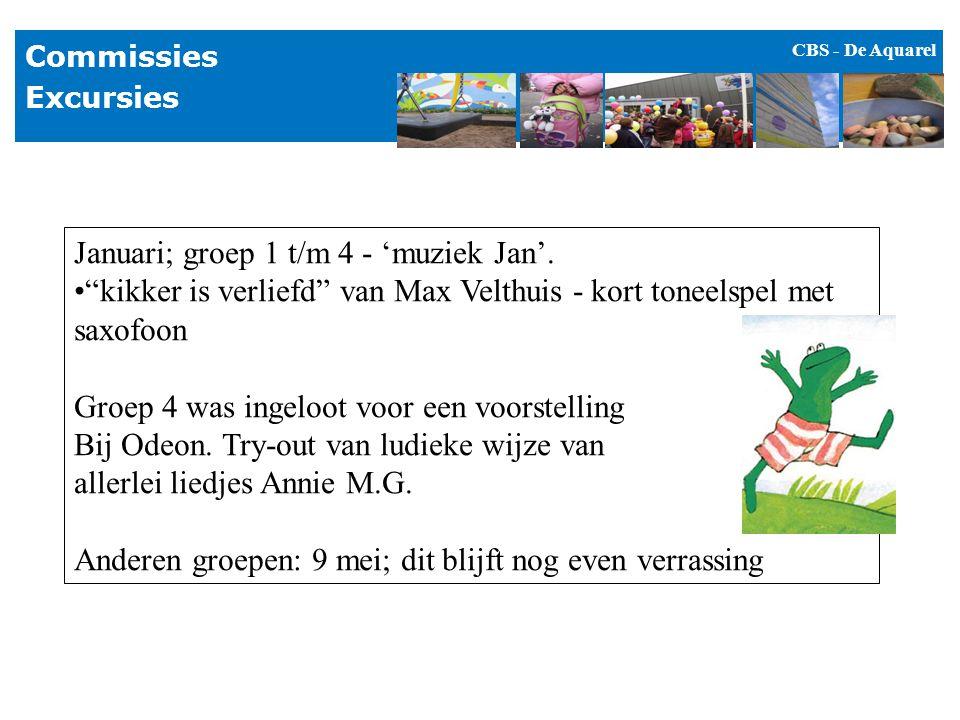 """CBS - De Aquarel Commissies Excursies Januari; groep 1 t/m 4 - 'muziek Jan'. """"kikker is verliefd"""" van Max Velthuis - kort toneelspel met saxofoon Groe"""